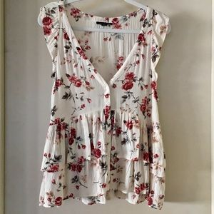 American Eagle white floral tank top